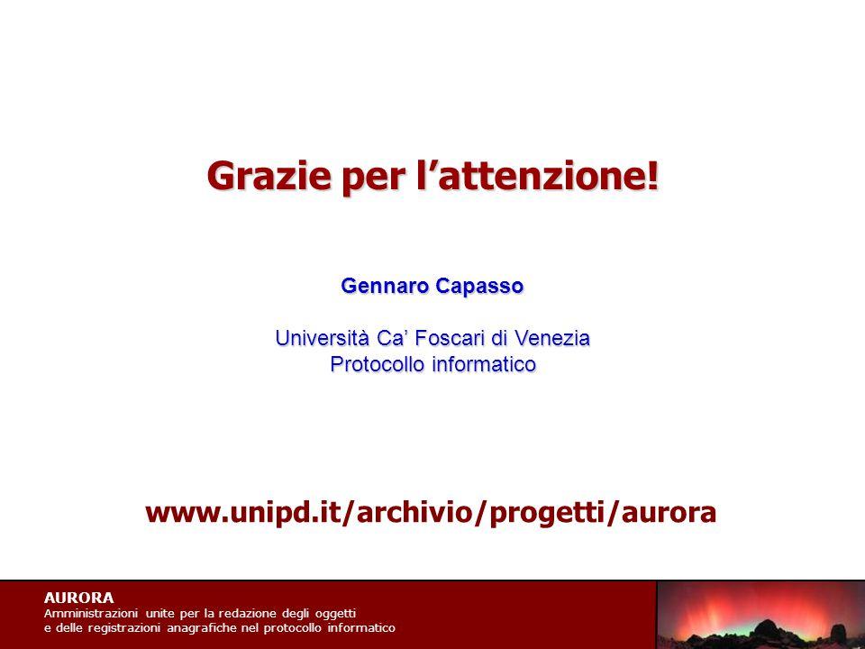AURORA Amministrazioni unite per la redazione degli oggetti e delle registrazioni anagrafiche nel protocollo informatico Grazie per l'attenzione.