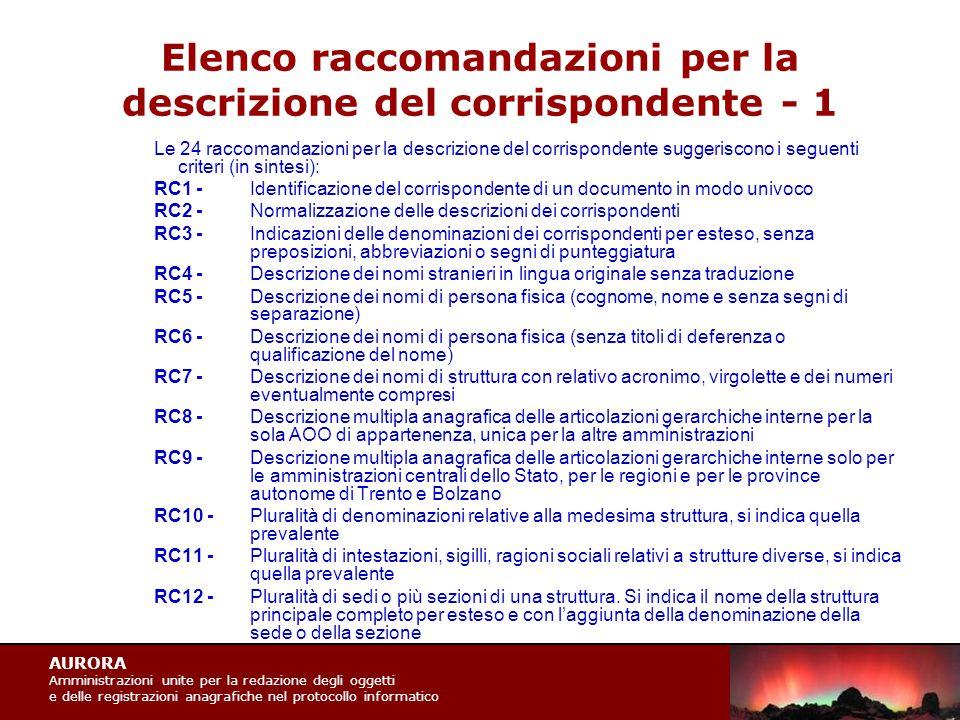 AURORA Amministrazioni unite per la redazione degli oggetti e delle registrazioni anagrafiche nel protocollo informatico Elenco raccomandazioni per la descrizione del corrispondente - 1 Le 24 raccomandazioni per la descrizione del corrispondente suggeriscono i seguenti criteri (in sintesi): RC1 -Identificazione del corrispondente di un documento in modo univoco RC2 -Normalizzazione delle descrizioni dei corrispondenti RC3 -Indicazioni delle denominazioni dei corrispondenti per esteso, senza preposizioni, abbreviazioni o segni di punteggiatura RC4 -Descrizione dei nomi stranieri in lingua originale senza traduzione RC5 -Descrizione dei nomi di persona fisica (cognome, nome e senza segni di separazione) RC6 -Descrizione dei nomi di persona fisica (senza titoli di deferenza o qualificazione del nome) RC7 -Descrizione dei nomi di struttura con relativo acronimo, virgolette e dei numeri eventualmente compresi RC8 -Descrizione multipla anagrafica delle articolazioni gerarchiche interne per la sola AOO di appartenenza, unica per la altre amministrazioni RC9 -Descrizione multipla anagrafica delle articolazioni gerarchiche interne solo per le amministrazioni centrali dello Stato, per le regioni e per le province autonome di Trento e Bolzano RC10 -Pluralità di denominazioni relative alla medesima struttura, si indica quella prevalente RC11 -Pluralità di intestazioni, sigilli, ragioni sociali relativi a strutture diverse, si indica quella prevalente RC12 -Pluralità di sedi o più sezioni di una struttura.