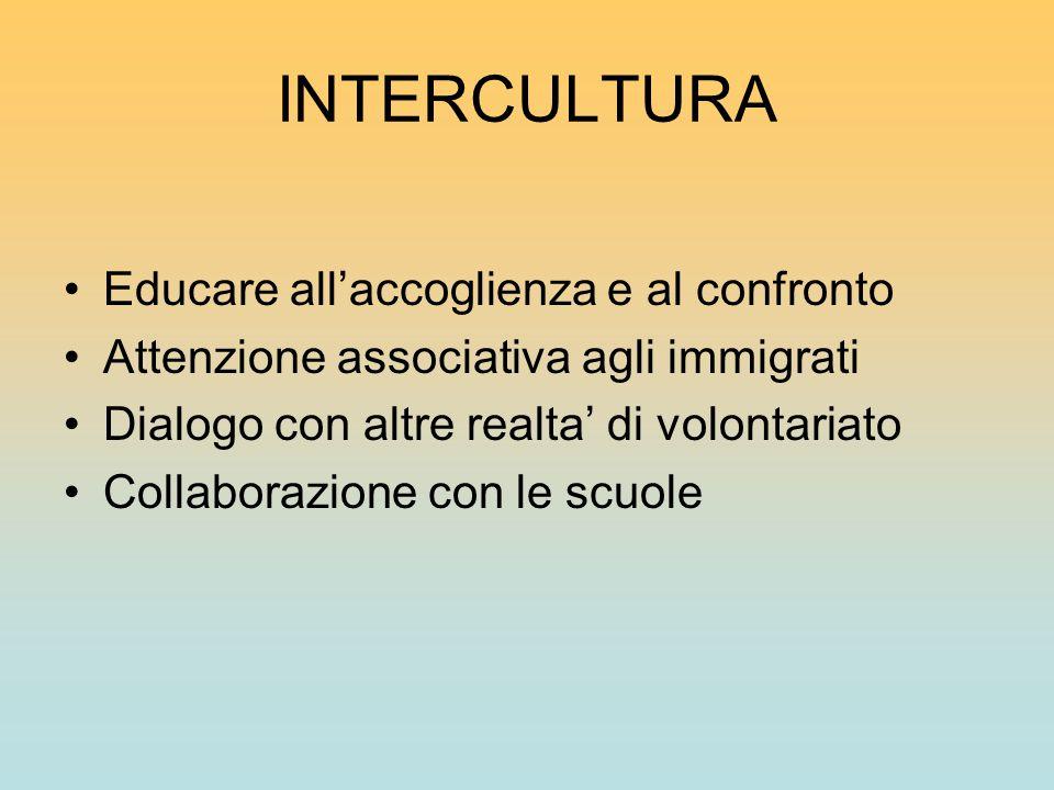 INTERCULTURA Educare all'accoglienza e al confronto Attenzione associativa agli immigrati Dialogo con altre realta' di volontariato Collaborazione con le scuole
