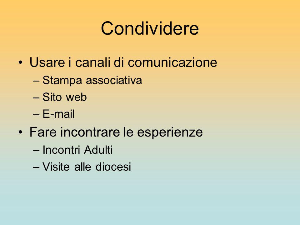 Condividere Usare i canali di comunicazione –Stampa associativa –Sito web –E-mail Fare incontrare le esperienze –Incontri Adulti –Visite alle diocesi