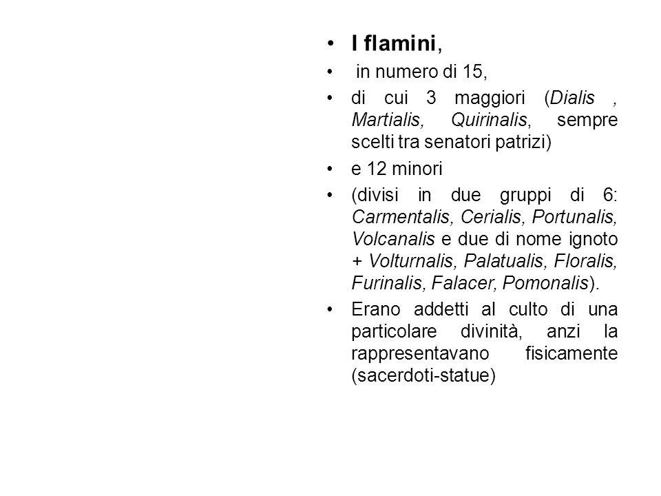 I flamini, in numero di 15, di cui 3 maggiori (Dialis, Martialis, Quirinalis, sempre scelti tra senatori patrizi) e 12 minori (divisi in due gruppi di