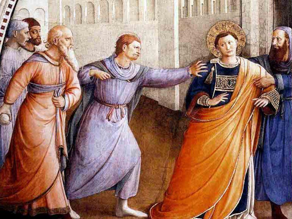 Stefano viene condotto in tribunale, davanti al Sinedrio, dove viene accusato di avere dichiarato che «Gesù …distruggerà questo luogo, [il tempio], e sovvertirà le usanze che Mosè ci ha tramandato» (At 6,14).
