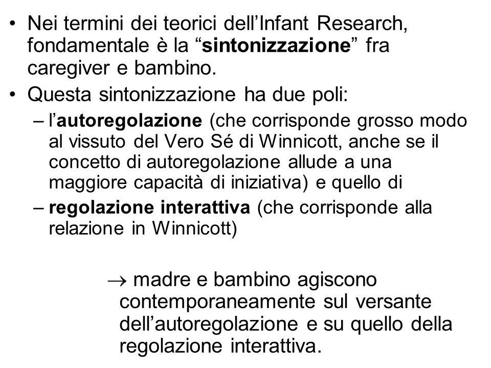 """Nei termini dei teorici dell'Infant Research, fondamentale è la """"sintonizzazione"""" fra caregiver e bambino. Questa sintonizzazione ha due poli: –l'auto"""