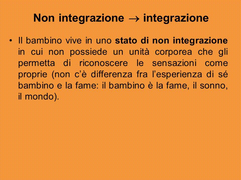 Non integrazione  integrazione Il bambino vive in uno stato di non integrazione in cui non possiede un unità corporea che gli permetta di riconoscere
