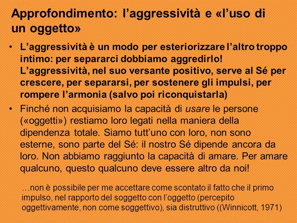 Approfondimento: l'aggressività e «l'uso di un oggetto» L'aggressività è un modo per esteriorizzare l'altro troppo intimo: per separarci dobbiamo aggr