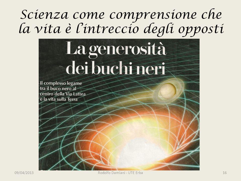 Scienza come comprensione che la vita è l'intreccio degli opposti 09/04/2013Rodolfo Damiani - UTE Erba16