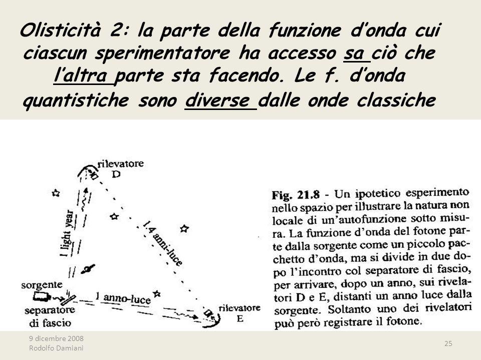 9 dicembre 2008 Rodolfo Damiani 25 Olisticità 2: la parte della funzione d'onda cui ciascun sperimentatore ha accesso sa ciò che l'altra parte sta fac