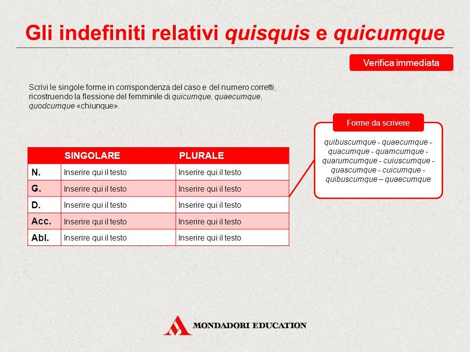 Gli indefiniti relativi quisquis e quicumque I pronomi quisquis e quicumque in latino sono seguiti dal verbo all'indicativo, mentre in italiano «chiun