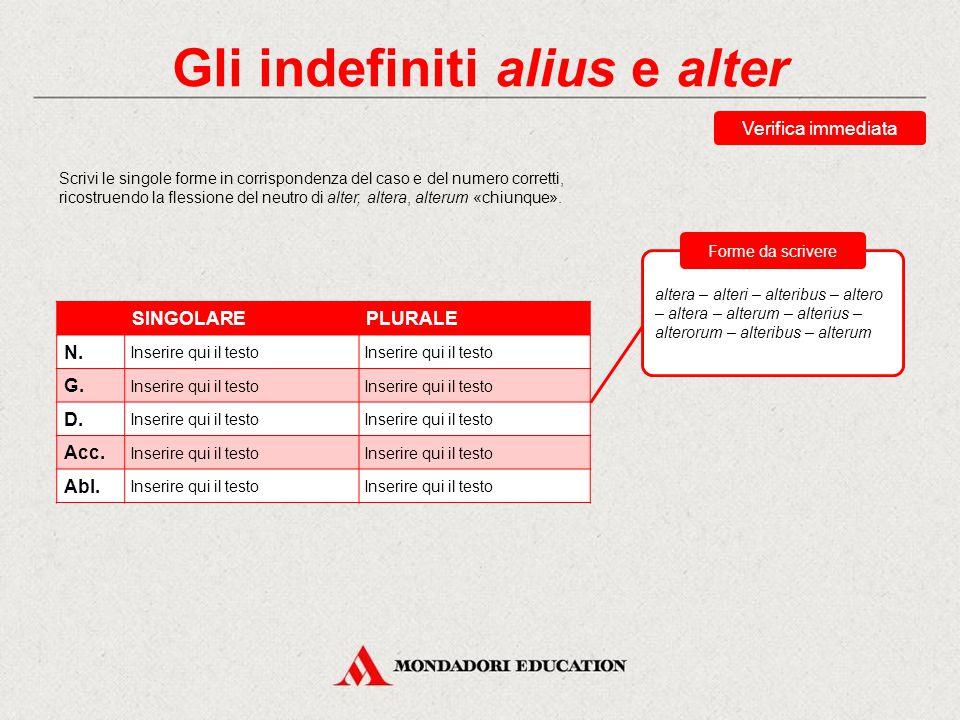 Gli indefiniti alius e alter Gli indefiniti alius e alter si declinano come degli aggettivi della I classe, con le caratteristiche uscite pronomminali