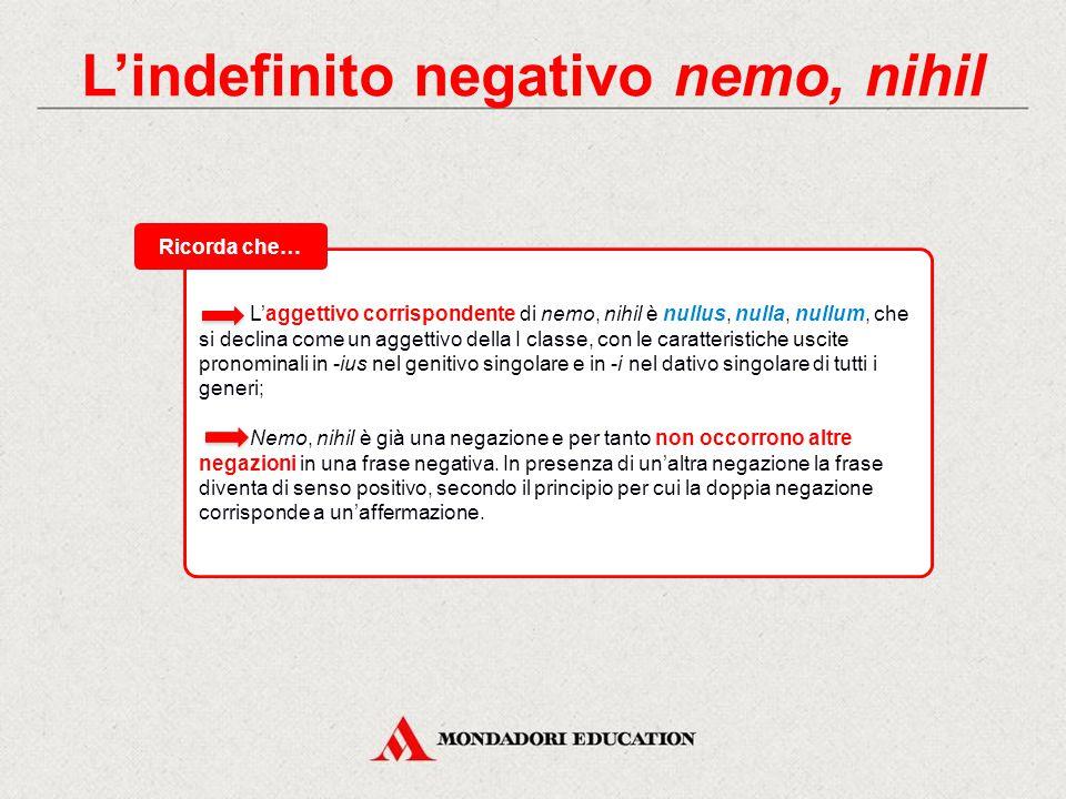 Tabelle di flessione maschile / femminileneutro N.N. nemonihil G.G. (nullīus)(nullīus rei) D.D. nemĭni(nulli rei) Acc. nemĭnemnihil Abl. (nullo)(nulla