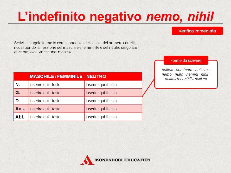 L'indefinito negativo nemo, nihil L'aggettivo corrispondente di nemo, nihil è nullus, nulla, nullum, che si declina come un aggettivo della I classe,