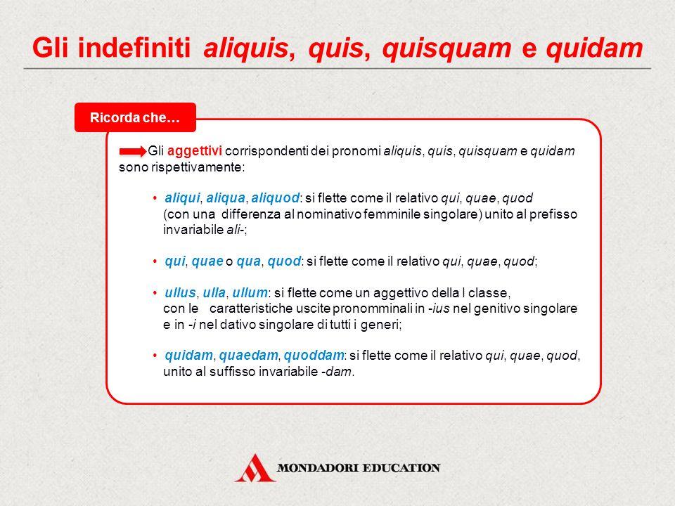 Gli indefiniti aliquis, quis, quisquam e quidam Aliquis, aliquid corrisponde a «qualcuno», «qualcosa», «alcuni», «alcune cose» ed è riferito a qualcun