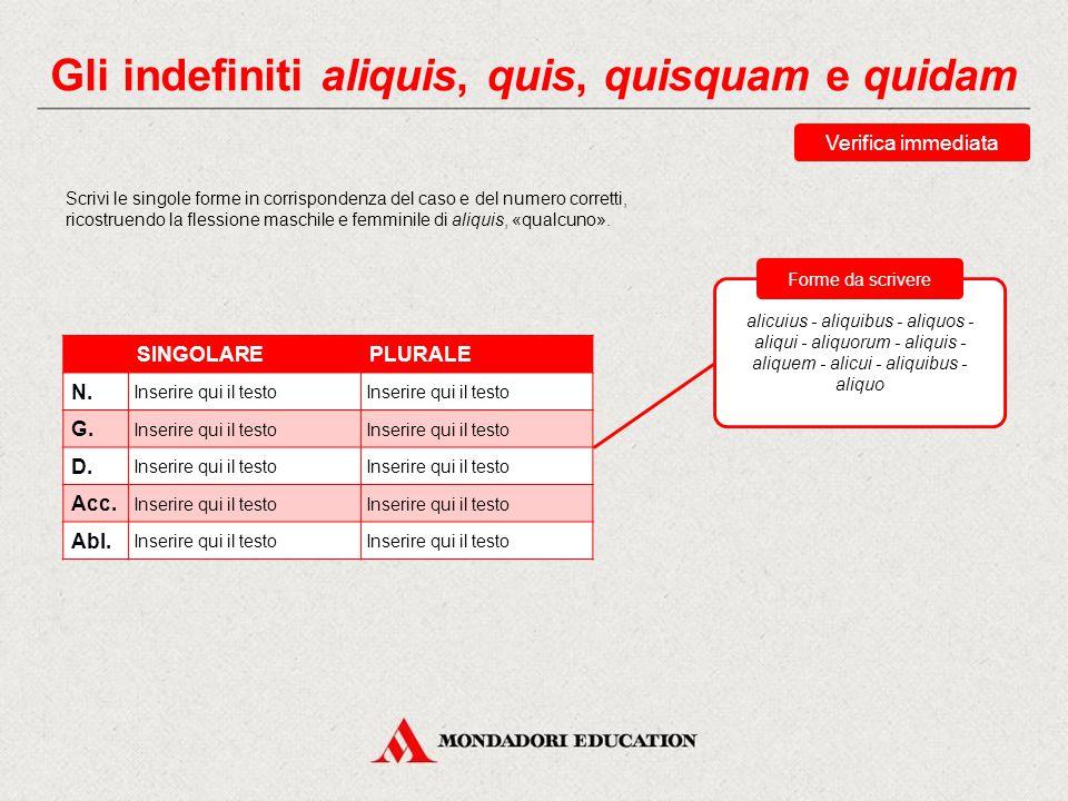 Gli indefiniti aliquis, quis, quisquam e quidam Gli aggettivi corrispondenti dei pronomi aliquis, quis, quisquam e quidam sono rispettivamente: aliqui