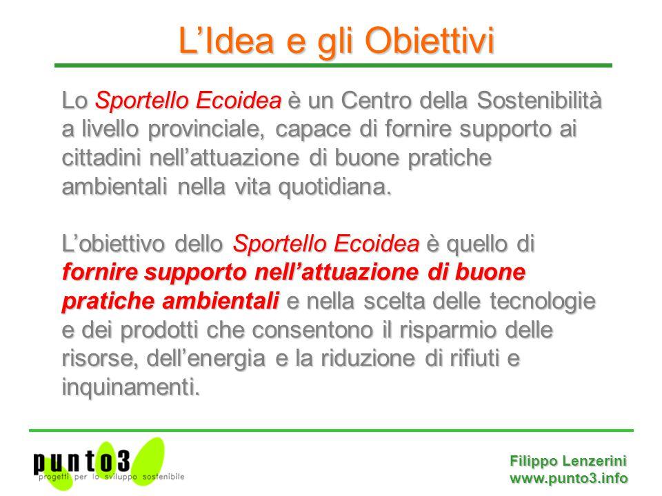 Filippo Lenzerini www.punto3.info Lo Sportello Ecoidea è un Centro della Sostenibilità a livello provinciale, capace di fornire supporto ai cittadini nell'attuazione di buone pratiche ambientali nella vita quotidiana.