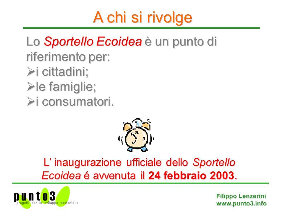 Filippo Lenzerini www.punto3.info Lo Sportello Ecoidea è un punto di riferimento per:  i cittadini;  le famiglie;  i consumatori.