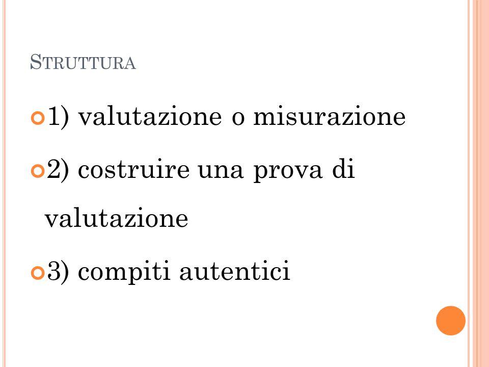 S TRUTTURA 1) valutazione o misurazione 2) costruire una prova di valutazione 3) compiti autentici