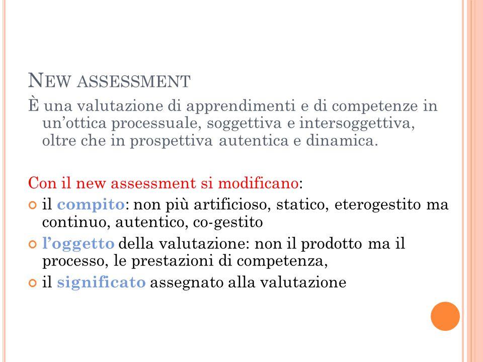 N EW ASSESSMENT È una valutazione di apprendimenti e di competenze in un'ottica processuale, soggettiva e intersoggettiva, oltre che in prospettiva autentica e dinamica.