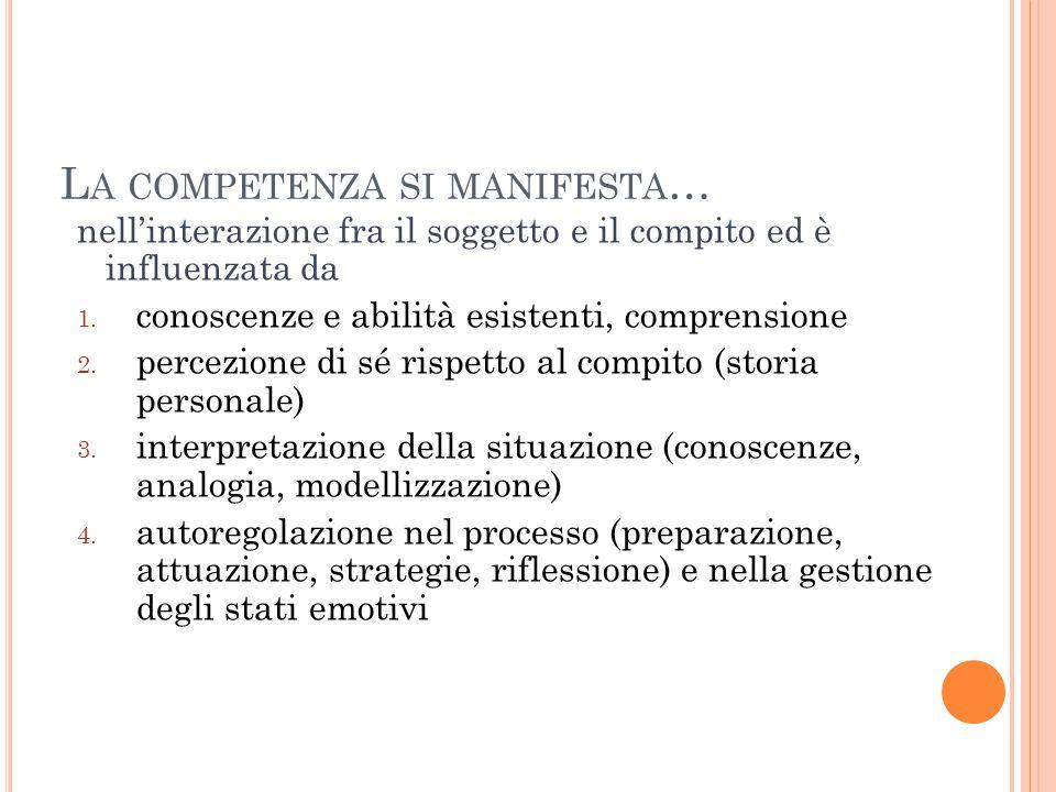 L A COMPETENZA SI MANIFESTA … nell'interazione fra il soggetto e il compito ed è influenzata da 1.