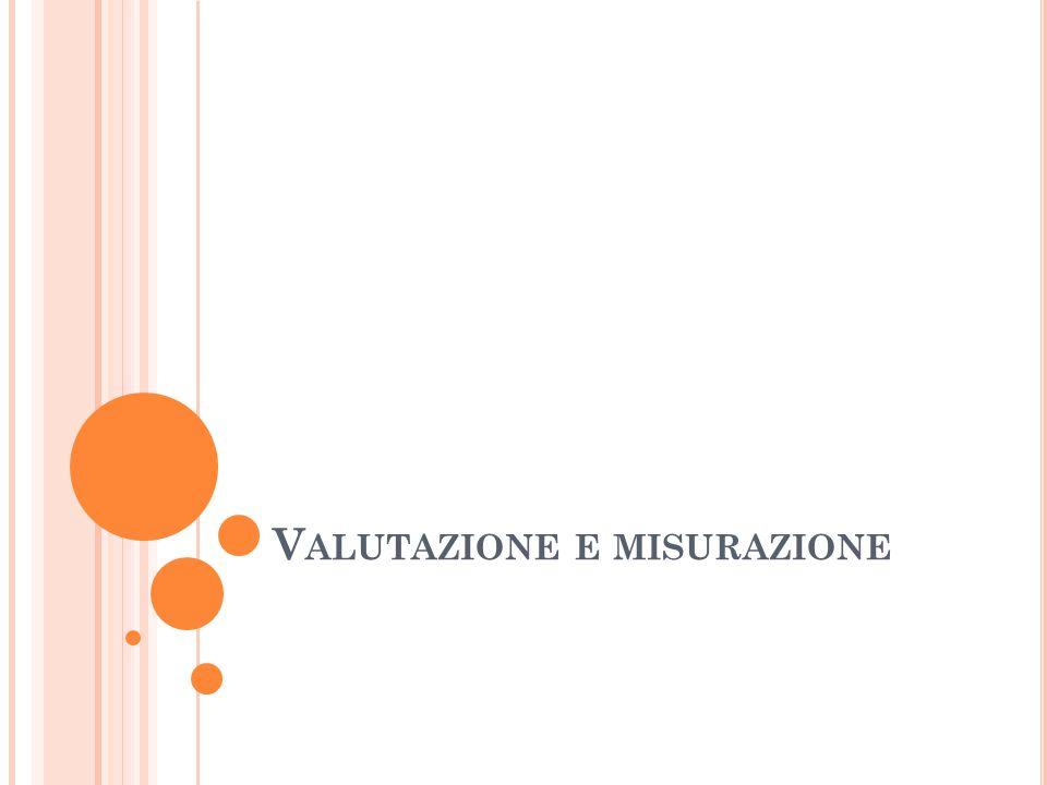 M ISURAZIONE E VALUTAZIONE La misurazione consiste nell acquisizione di una informazione organizzata relativa a determinati fenomeni; la valutazione nello stabilire la rispondenza delle misurazioni effettuate a determinate ipotesi che sono alla base dell attività formativa.