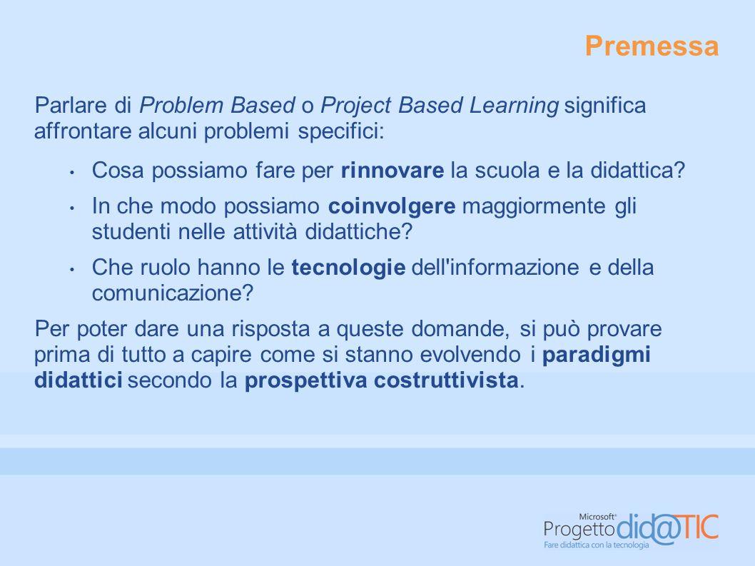 Premessa Parlare di Problem Based o Project Based Learning significa affrontare alcuni problemi specifici: Cosa possiamo fare per rinnovare la scuola e la didattica.