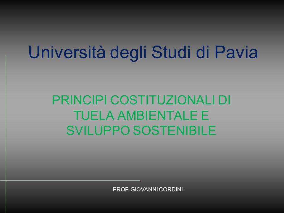 Università degli Studi di Pavia PRINCIPI COSTITUZIONALI DI TUELA AMBIENTALE E SVILUPPO SOSTENIBILE PROF.