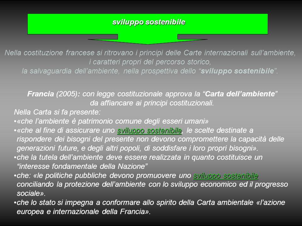sviluppo sostenibile Francia (2005): con legge costituzionale approva la Carta dell'ambiente da affiancare ai principi costituzionali.