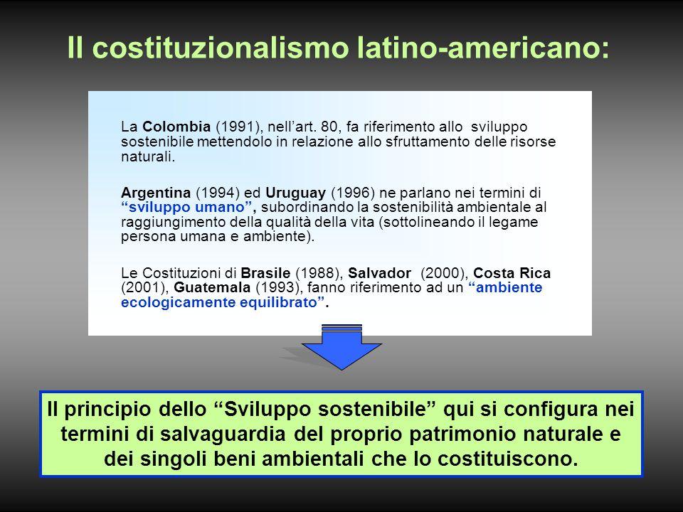 Il costituzionalismo latino-americano: La Colombia (1991), nell'art.