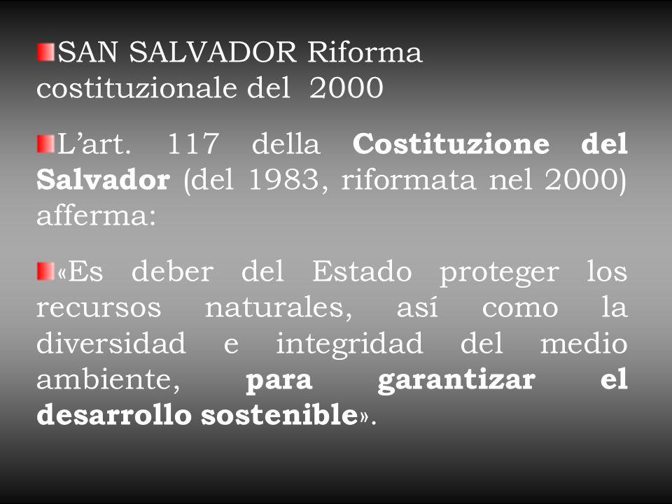 SAN SALVADOR Riforma costituzionale del 2000 L'art.