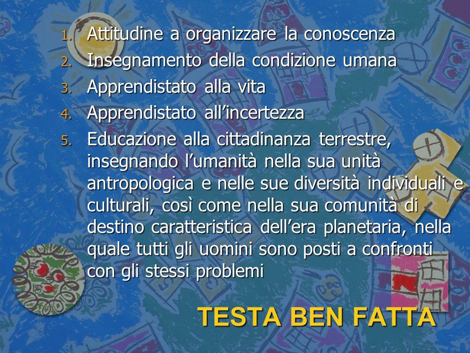 TESTA BEN FATTA 1. Attitudine a organizzare la conoscenza 2. Insegnamento della condizione umana 3. Apprendistato alla vita 4. Apprendistato all'incer