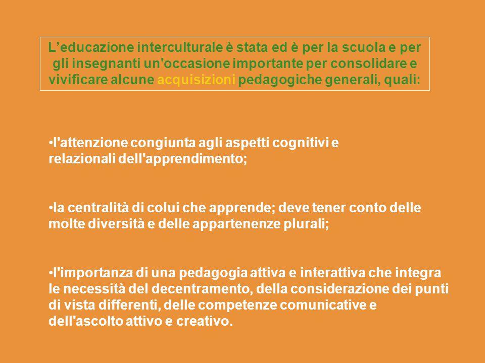 L'educazione interculturale è stata ed è per la scuola e per gli insegnanti un'occasione importante per consolidare e vivificare alcune acquisizioni p