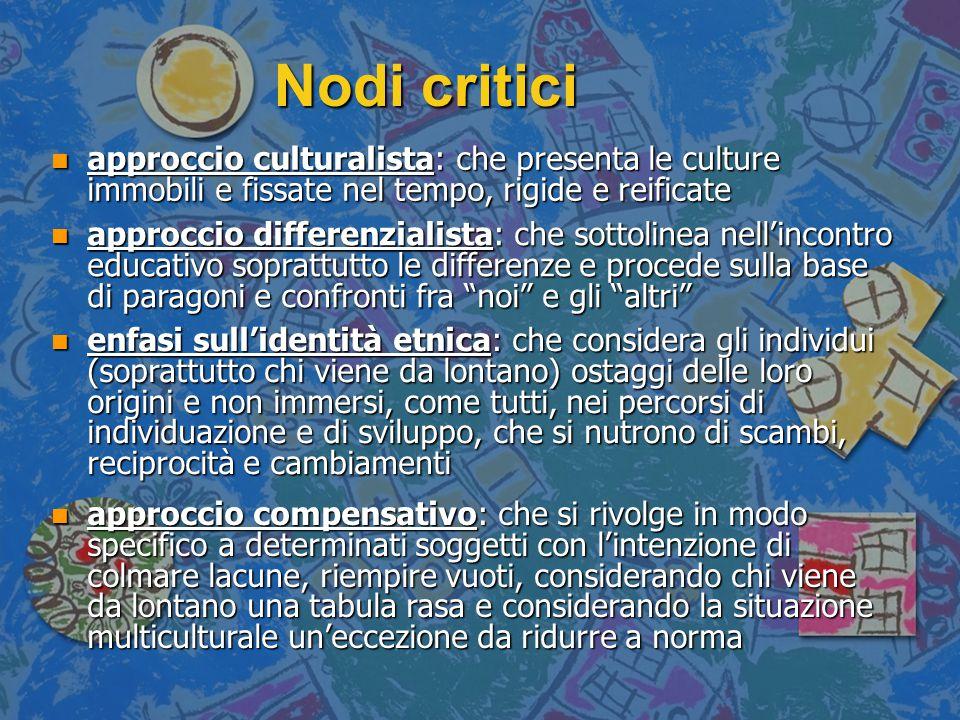 Nodi critici n approccio culturalista: che presenta le culture immobili e fissate nel tempo, rigide e reificate n approccio differenzialista: che sott
