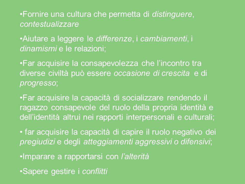 Fornire una cultura che permetta di distinguere, contestualizzare Aiutare a leggere le differenze, i cambiamenti, i dinamismi e le relazioni; Far acqu