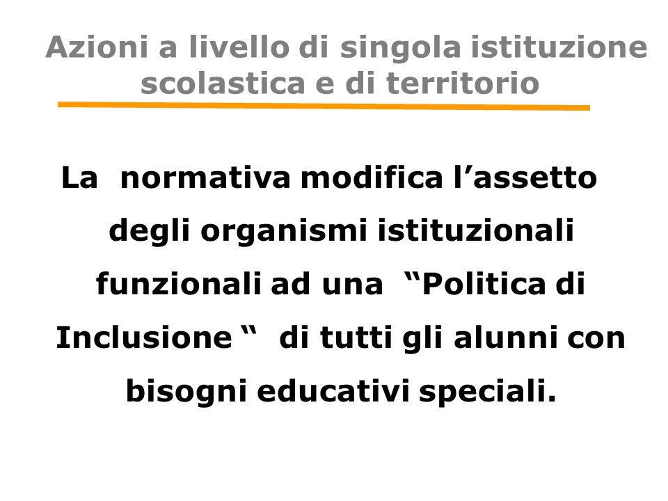 """Azioni a livello di singola istituzione scolastica e di territorio La normativa modifica l'assetto degli organismi istituzionali funzionali ad una """"Po"""