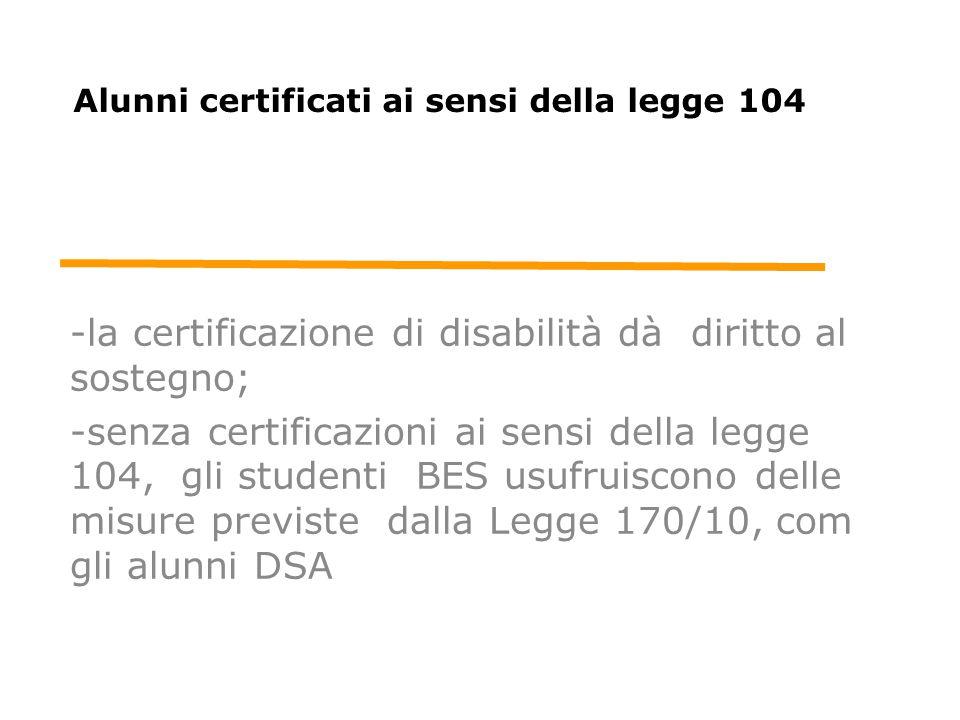 Alunni certificati ai sensi della legge 104 -la certificazione di disabilità dà diritto al sostegno; -senza certificazioni ai sensi della legge 104, g