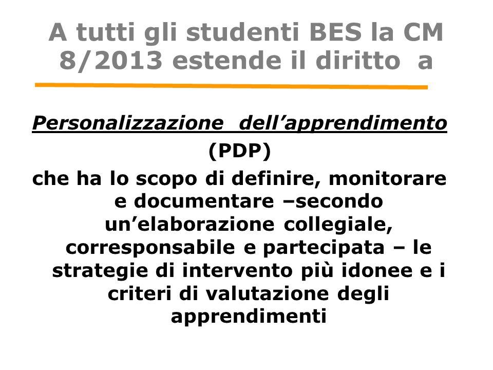 A tutti gli studenti BES la CM 8/2013 estende il diritto a Personalizzazione dell'apprendimento (PDP) che ha lo scopo di definire, monitorare e docume