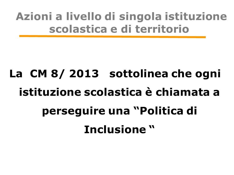Azioni a livello di singola istituzione scolastica e di territorio La CM 8/ 2013 sottolinea che ogni istituzione scolastica è chiamata a perseguire un