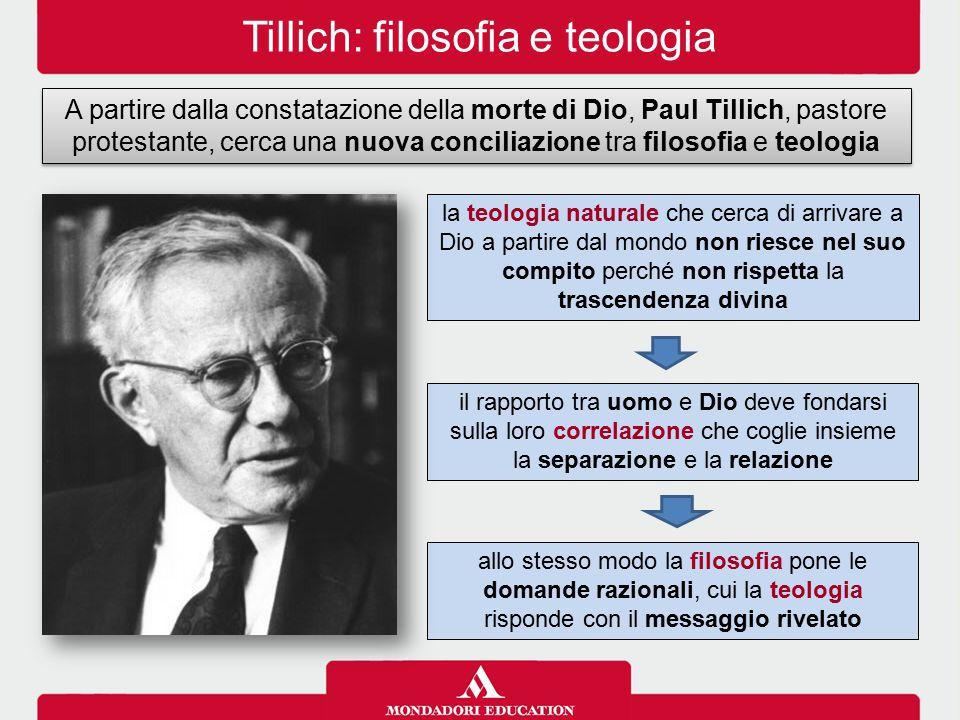 Tillich: filosofia e teologia A partire dalla constatazione della morte di Dio, Paul Tillich, pastore protestante, cerca una nuova conciliazione tra f