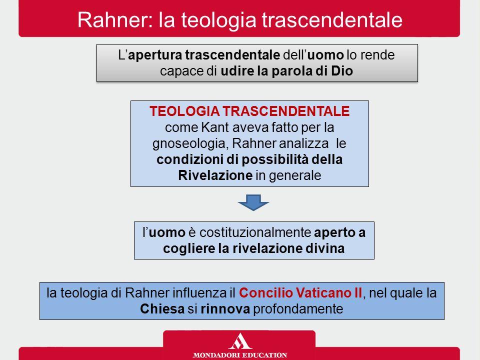 Rahner: la teologia trascendentale L'apertura trascendentale dell'uomo lo rende capace di udire la parola di Dio TEOLOGIA TRASCENDENTALE come Kant ave