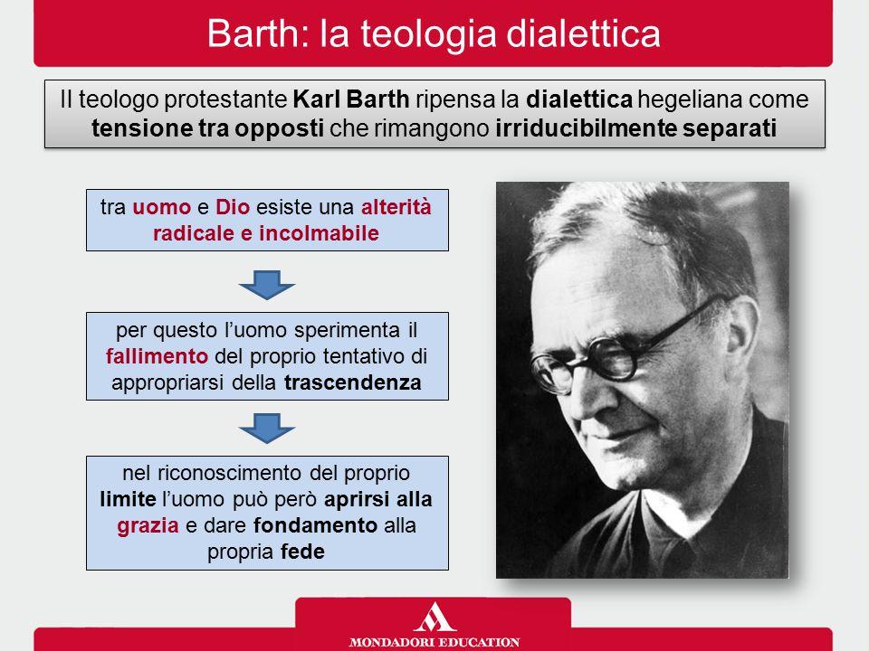Barth: la teologia dialettica Il teologo protestante Karl Barth ripensa la dialettica hegeliana come tensione tra opposti che rimangono irriducibilmen