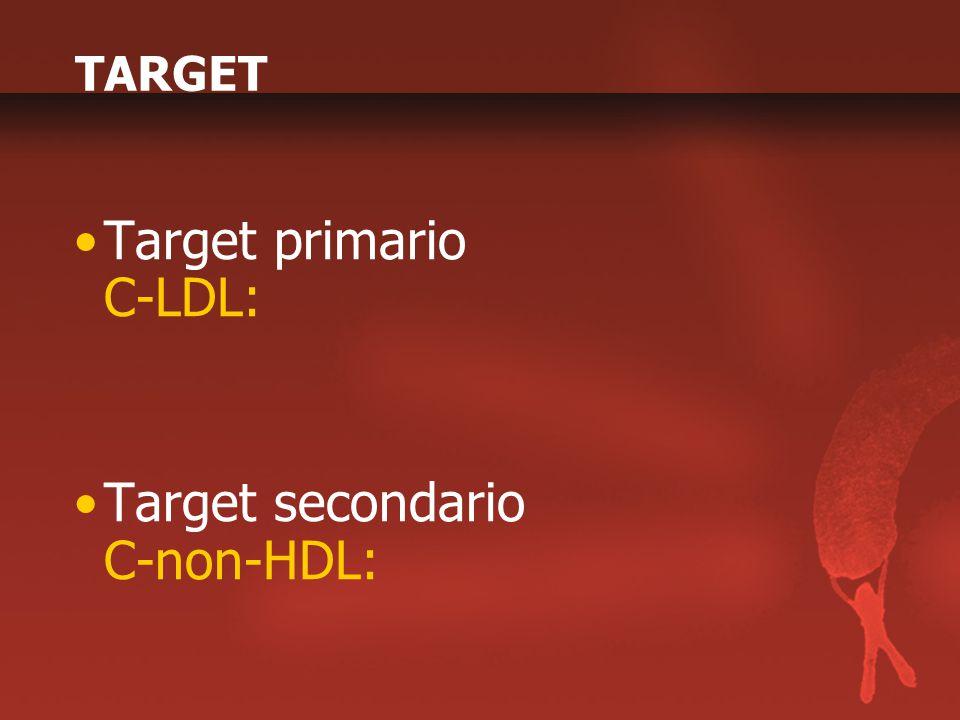 TARGET Target primario C-LDL: Target secondario C-non-HDL:
