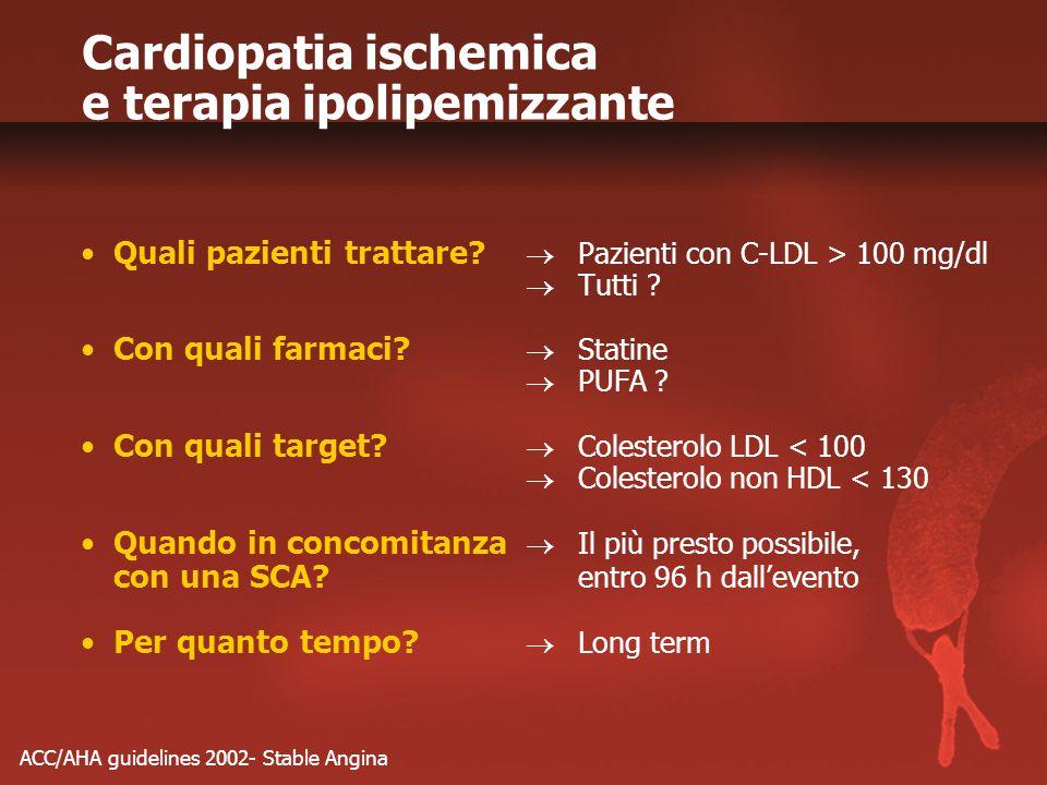 Cardiopatia ischemica e terapia ipolipemizzante Quali pazienti trattare?  Pazienti con C-LDL > 100 mg/dl  Tutti ? Con quali farmaci?  Statine  PUF