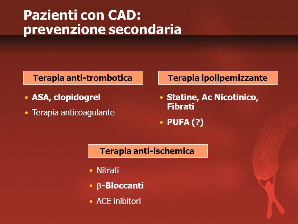 ASA, clopidogrel Terapia anticoagulante Terapia anti-trombotica Statine, Ac Nicotinico, Fibrati PUFA (?) Terapia ipolipemizzante Nitrati  -Bloccanti
