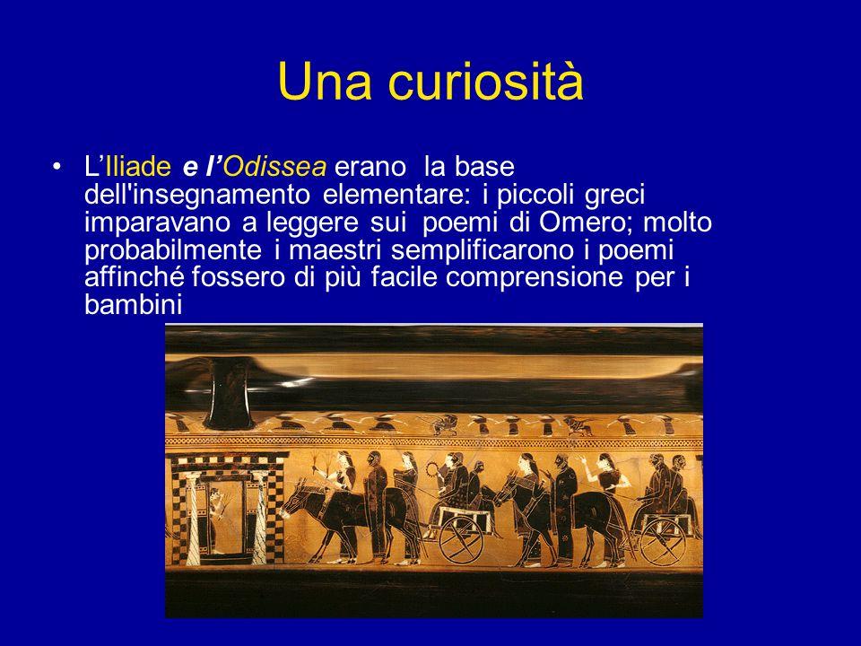 Una curiosità L'Iliade e l'Odissea erano la base dell'insegnamento elementare: i piccoli greci imparavano a leggere sui poemi di Omero; molto probabil