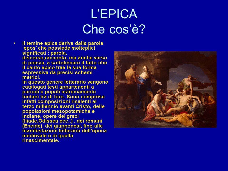 L'EPICA Che cos'è? Il temine epica deriva dalla parola 'épos' che possiede molteplici significati : parola, discorso,racconto, ma anche verso di poesi