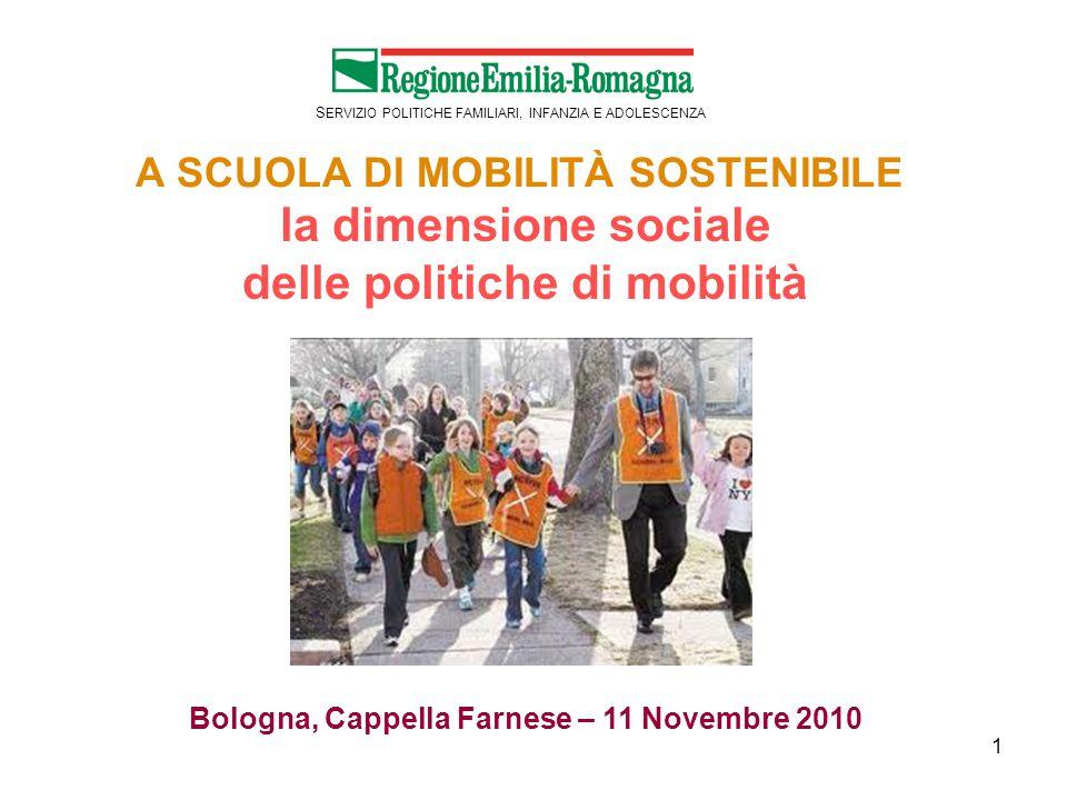 1 S ERVIZIO POLITICHE FAMILIARI, INFANZIA E ADOLESCENZA A SCUOLA DI MOBILITÀ SOSTENIBILE la dimensione sociale delle politiche di mobilità Bologna, Cappella Farnese – 11 Novembre 2010