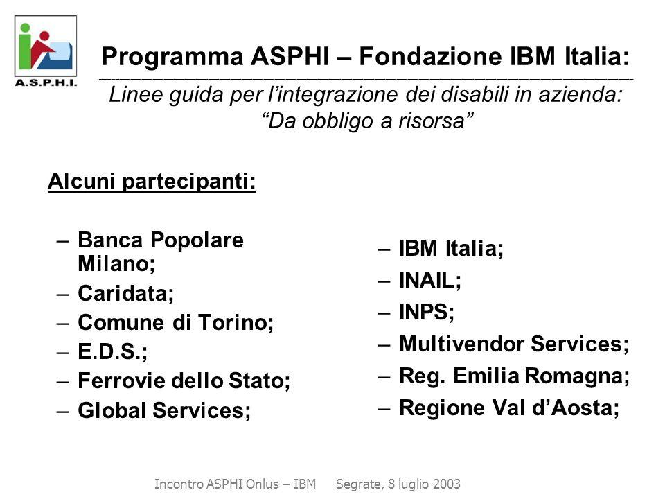 Alcuni partecipanti: –Banca Popolare Milano; –Caridata; –Comune di Torino; –E.D.S.; –Ferrovie dello Stato; –Global Services; –IBM Italia; –INAIL; –INP