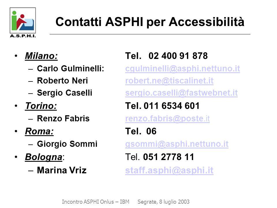 Contatti ASPHI per Accessibilità _______________________________________________________________________________________ Milano: Tel. 02 400 91 878 –C