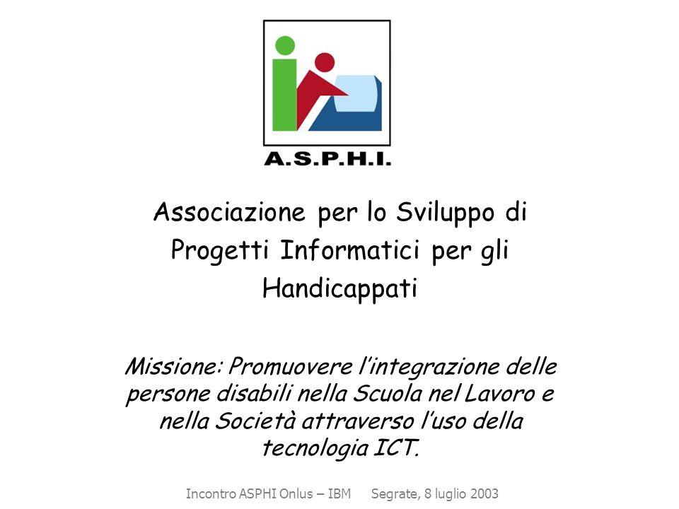 Associazione per lo Sviluppo di Progetti Informatici per gli Handicappati Missione: Promuovere l'integrazione delle persone disabili nella Scuola nel