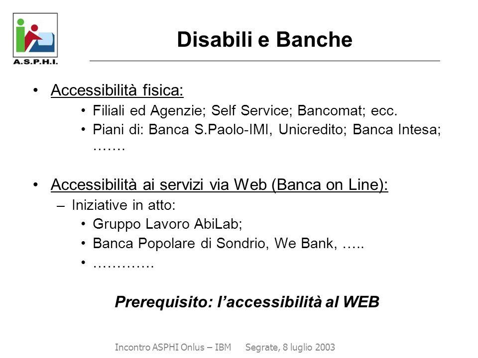 Disabili e Banche ________________________________________________________________________________________ Accessibilità fisica: Filiali ed Agenzie; S