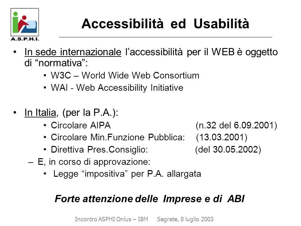 Accessibilità ed Usabilità _____________________________________________________________________________________ In sede internazionale l'accessibilit